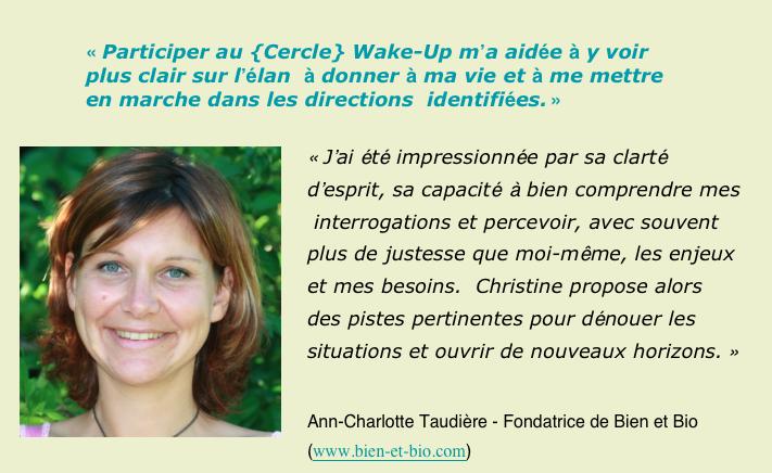 Cercle Wake up Ann Taudiere temoignage